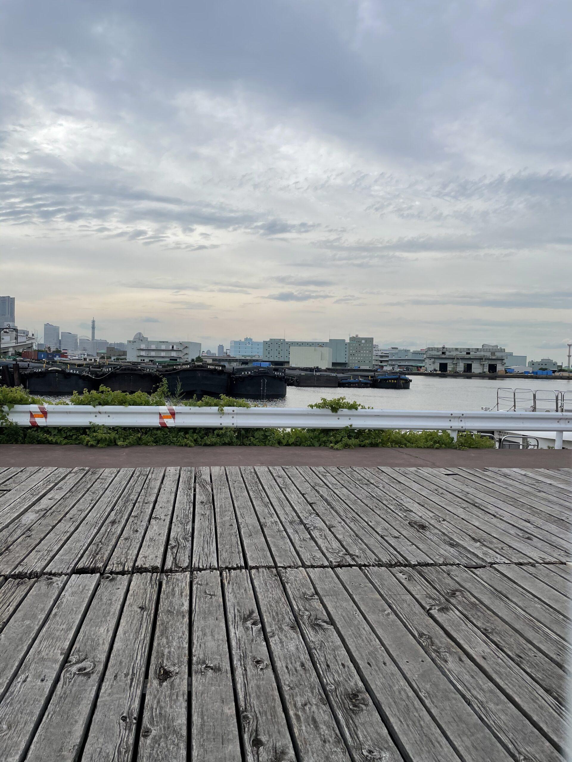 本牧に近い新山下モンベルからの横浜港